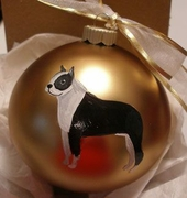 Boston Terrier Hand Painted Christmas Ornament