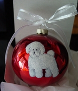Bichon Frise Hand Painted Christmas Ornament