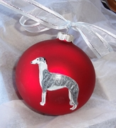 Whippet Hand Painted Christmas Ornament