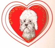 Dandie Dinmont Hand Painted Heart Pin