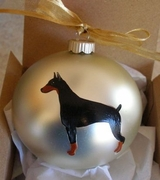 Doberman Pinscher Hand Painted Christmas Ornament