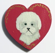 Bichon Hand Painted Pin
