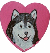 Alaskan Malamute Hand Painted Heart Pin