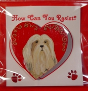 Lhasa Apso Hand Painted Heart Pin
