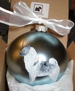 Norwegian Elkhound Hand Painted Christmas Ornament