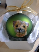 Border Terrier Head Hand Painted Christmas Ornament