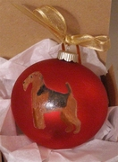 Welsh Terrier Hand Painted Christmas Ornament