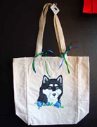 Alaskan Malamute Hand Painted Canvas Tote