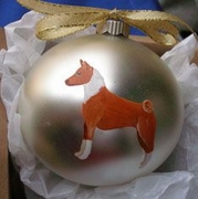 Basenji Hand Painted Christmas Ornament