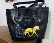 Norwegian Fjord Carriage Driving Horse Hand Painted Purse
