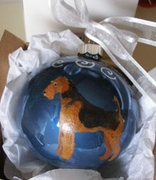 Airedale Terrier Hand Painted Christmas Ornament