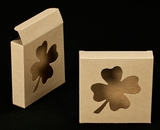 "2297 - 4 3/8"" x 4 3/8"" x 1"" Brown/Brown with Shamrock Window Reverse Tuck Box"
