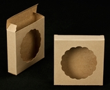 "2252 - 4 3/8"" x 4 3/8"" x 1"" Brown/Brown with Round Window Reverse Tuck Box. B03"