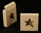 "2257 - 4 3/8"" x 4 3/8"" x 1"" Brown/Brown with Star Window  Reverse Tuck Box"