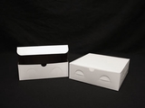 "1213 - 9"" x 9"" x 3"" White/Brown without Window, Lock & Tab Box With Lid"
