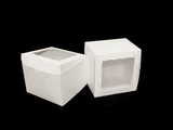 "1717 - 8"" x 8"" x 6"" White/White with Window, Lock & Tab Box With Lid"