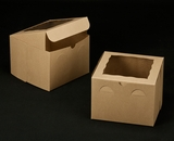 "2389 - 8"" x 8"" x 6"" Brown/Brown with Window, Lock & Tab Box With Lid"