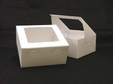 "245 - 10"" x 10"" x 5"" White/White with Window, Lock & Tab Box With Lid"