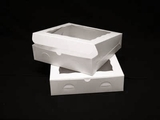 "1727 - 12"" x 12"" x 3""  White/White with Window, Lock & Tab Box with Lid, 50 COUNT"