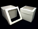 "1250x1251 - 12"" x 12"" x 10"" White/White Lock & Tab Box Set, with Window, 50 COUNT. A33xA08"