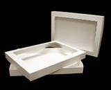 "397x293 - 19"" x 14"" x 2"" White/White Two Piece Lock & Tab Box Set,  with Window, 50 COUNT"