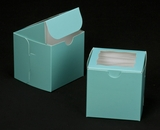 "2829 - 4"" x 4"" x 4"" Diamond Blue/White with Window, Lock & Tab Box With Lid. B09"