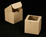 "2100 - 4"" x 4"" x 4"" Brown/Brown with Window, One Piece Lock & Tab Box With Lid. B11"