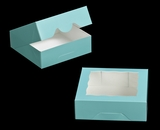 "3229 - 8"" x 8"" x 2 1/2"" Diamond Blue/White with Window, Timesaver Box With Lid. A14"