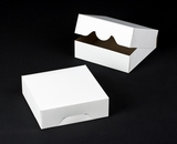"1195 - 8"" x 8"" x 2 1/2"" White/Brown without Window, Timesaver Box With Lid. A14"