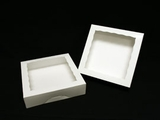 "947 - 10"" x 10"" x 2 1/2""  White/White with Window, Timesaver Box With Lid. A19"