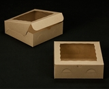 "2271 - 9"" x 9"" x 3"" Brown/Brown with Window, Lock & Tab Box With Lid. A17"
