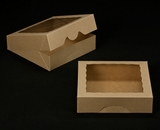 "2242 - 10"" x 10"" x 2 1/2"" Brown/Brown with Window, Timesaver Box With Lid. A20"