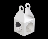"3405 - 2 3/4"" x 2 3/4"" x 2 3/4"" Lantern Favor Box White/White with Window, Snap Lock Bottom. B04"