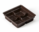 "3360 � 4 oz Candy Tray 3 7/8"" x 3 7/8"" x 1 1/16"" Chocolate Brown 4 Cavity"