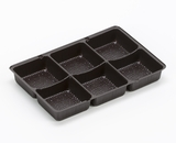 "3359 - 6 15/16"" x 4 3/8"" x 7/8"" Chocolate Brown 6 Cavity Candy Tray"