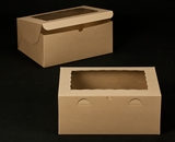 "2393 - 14"" x 10"" x 6"" Brown/Brown with Window, Lock & Tab Box With Lid"