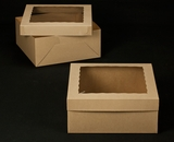 "2396x2397 - 14"" x 14"" x 6"" Brown/Brown Lock & Tab Box Set, with Window 50 COUNT. A18xA07"