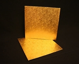 214 - 12 inch Cake Board, Square Gold Foil Single Wall Corrugated. C07