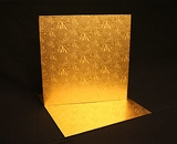 218 - 14 inch Cake Board, Square Gold Foil Single Wall Corrugated