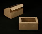 "2265 - 10"" x 7"" x 4"" Brown/Brown with Window, Lock & Tab Box With Lid. A21"