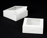 "3056 - 7"" x 7"" x 2 1/2"" White/White with Window, Lock & Tab Box with Lid"