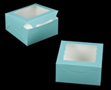 "3234 - 8"" x 8"" x 4"" Diamond Blue/White with Window, Lock & Tab Box with Lid"