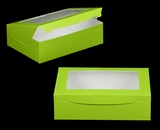 "3315 - 14"" x 10"" x 4"" Lime Green/White with Window, Lock & Tab Box With Lid. A32"