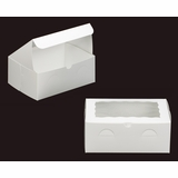 "2264 - 10"" x 7"" x 4"" White/White with Window, Lock & Tab Box With Lid"