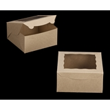 "2106 - 8"" x 8"" x 4"" Brown/Brown with Window, Lock & Tab Box With Lid"