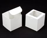 "1412 - 4"" x 4"" x 4"" White/White with Window, One Piece Lock & Tab Box With Lid. B09"