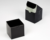 "2880 - 4"" x 4"" x 4"" Black/White without Window, Lock & Tab Box With Lid. B09"
