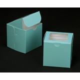 "2829 - 4"" x 4"" x 4"" Diamond Blue/White with Window, Lock & Tab Box With Lid"