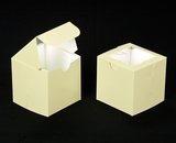 "2912 - 4"" x 4"" x 4"" Butter Cream/White with Window, Lock & Tab Box With Lid. B09"