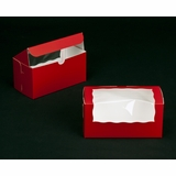 "2295 - 8"" x 4"" x 4"" Red/White with Window, One Piece Lock & Tab Box With Lid"